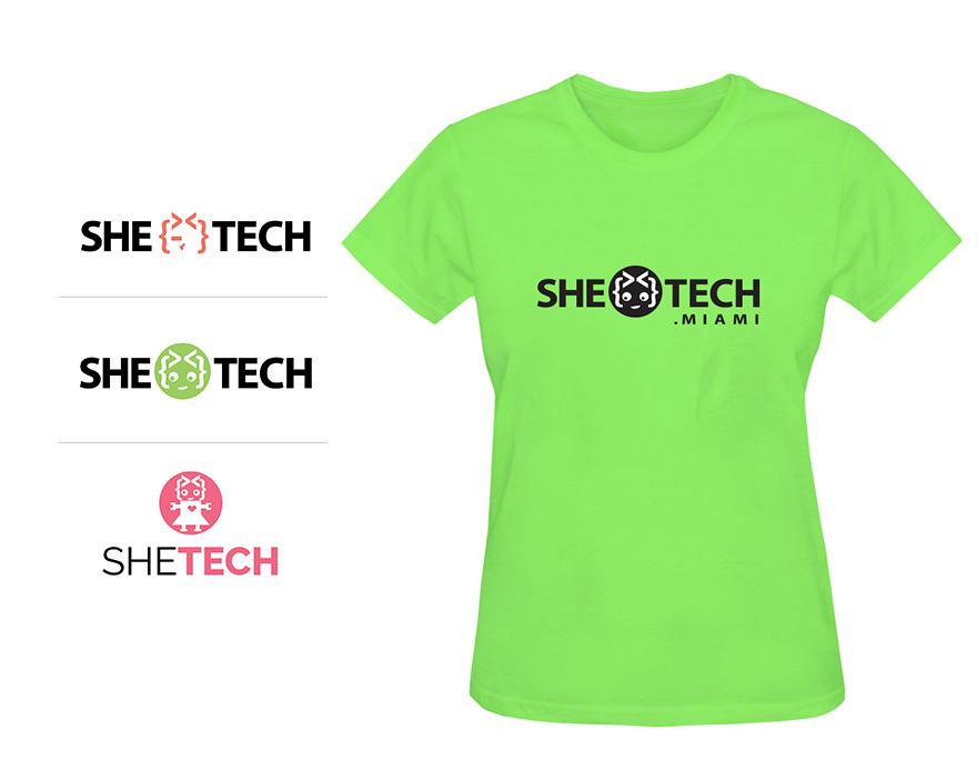 SheTech-Logo-and-Tshirt-screen-printing-t-shirts-in-miami-lakeland-floridadesign; printing; marketing materials; promotional items; miami; lakeland; florida; central florida; sba; woman; owned; minority; certified; business; promotional products; promotional branding; branding; swag; promotional material; T-shirt; tshirt; promotional gift; brochures; flyers; business cards